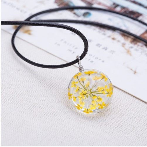 Crystal glass Ball Clover Strip Leather Chain Pendant Necklaces Women Lucky Wish Locket Jewellery photo color 8 one size