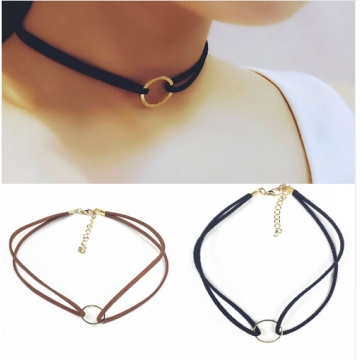 IFeel Jewellery accessories plated terciopelo leather mix color round choker necklace for couple black+gold one size
