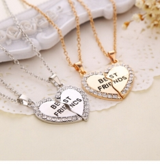 Fashion IFeel Jewellery Two-color Pendant Necklace One Half And A Half Girlfriend Brother Couple gold 45cm