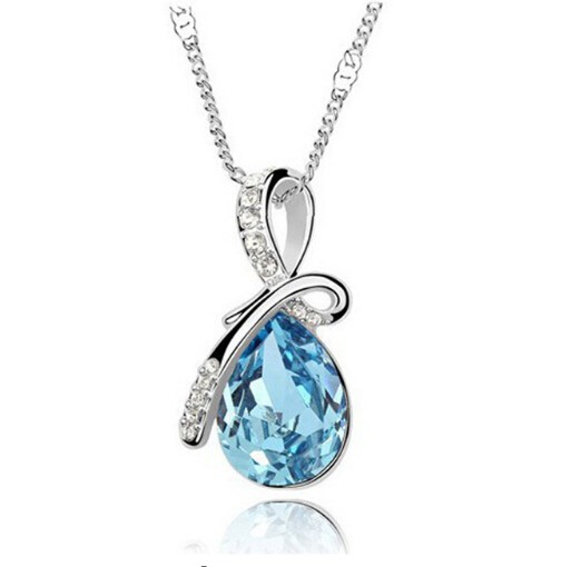 IFeel Austrian Crystal Water Drop Pendants&Necklaces Plated Chain Necklace Fine Jewellery For Women sky blue 50cm