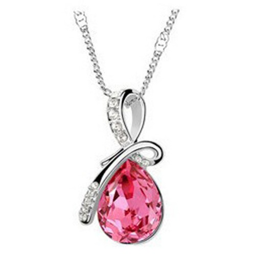 IFeel Austrian Crystal Water Drop Pendants&Necklaces Plated Chain Necklace Fine Jewellery For Women photo color 1 50cm