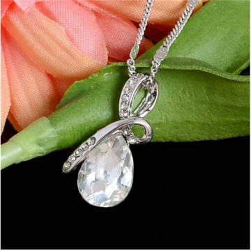 IFeel Austrian Crystal Water Drop Pendants&Necklaces Plated Chain Necklace Fine Jewellery For Women white 50cm
