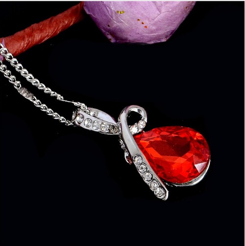 IFeel Austrian Crystal Water Drop Pendants&Necklaces Plated Chain Necklace Fine Jewellery For Women red 50cm