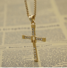 Jewellery Hot Selling The Movie Fast and Furious Pendant Dominic Toretto Cross Men's Necklace Drop gold necklace*10