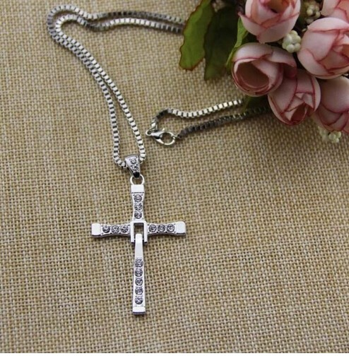 Jewellery Hot Selling The Movie Fast and Furious Pendant Dominic Toretto Cross Men's Necklace Drop silver one size