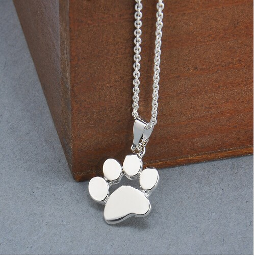 IFeel Fashion Cute Pets Dogs Footprints Paw Chain Pendant Necklaces & Pendants Jewellery for Women silver 45cm