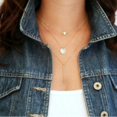 IFeel Fashion suspension geometry crystal layer 3 color to choose chain necklace women jewellery gold necklace*6