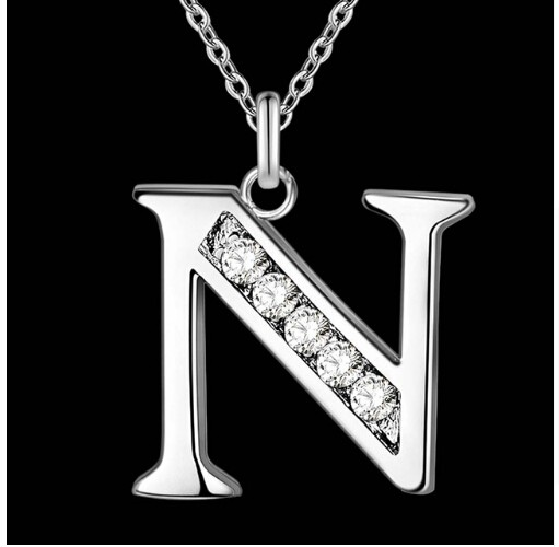 IFeel Jewellery Letter A-Z silver plated Necklace, Stamp 925 fashion silver jewelry Fashion Pendant photo color 14 one size
