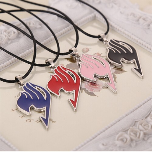 Fairy Tail necklace guild logo tattoo pendant Anime fashion jewellery leather rope for men and women black 43+5cm