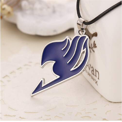 Fairy Tail necklace guild logo tattoo pendant Anime fashion jewellery leather rope for men and women blue 43+5cm