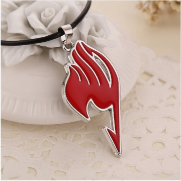 Fairy Tail necklace guild logo tattoo pendant Anime fashion jewellery leather rope for men and women red 43+5cm