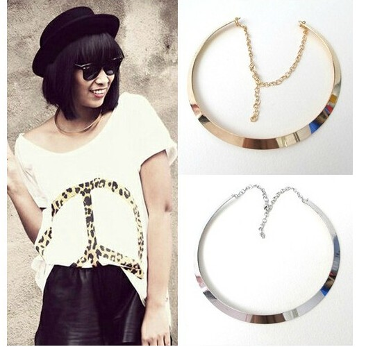 IFeel Jewellery Hot Fashion Making simple shape metal texture collar necklace gold one size