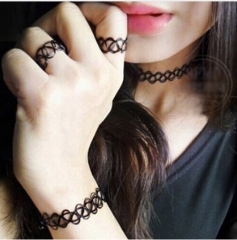 IFeel Jewellery 1 Set Summer Style Collares Women Girls Vintage Stretch Tattoo Choker Necklace black one size