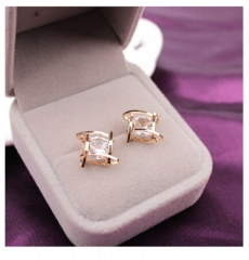 IFeel Elegant and Charming Rhinestone Full Crystals Square Stud Earrings for Women Girls Jewellery gold one size