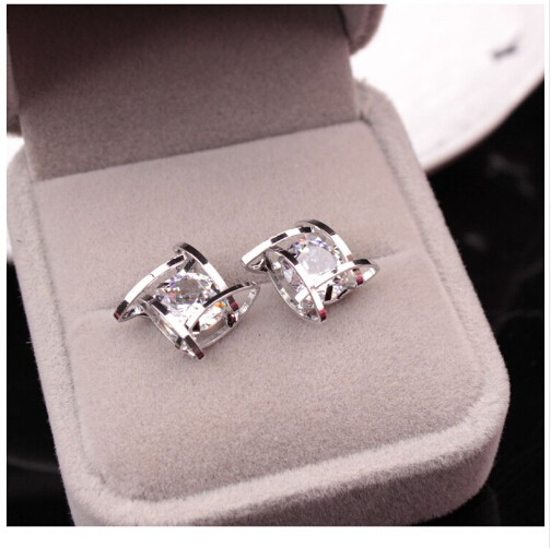 IFeel Elegant and Charming Rhinestone Full Crystals Square Stud Earrings for Women Girls Jewellery silver one size