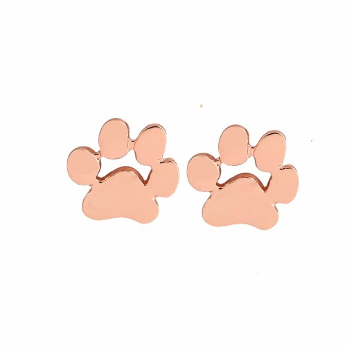 IFeel Jewellery New Fashion Cute Paw Print Earrings for Women Cat and Dog Paw Stud Earrings gold rose one size