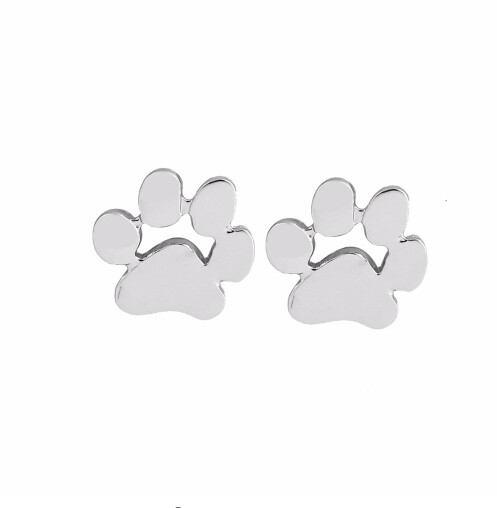 IFeel Jewellery New Fashion Cute Paw Print Earrings for Women Cat and Dog Paw Stud Earrings silver one size