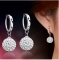 Flash Full Bling Crystal Shamballa Princess Ball 925 Sterling Women Stud Earrings Party Jewellery silver one size