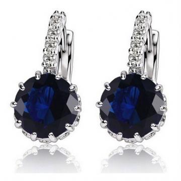 High Quality Plated CZ Diamond Zircon Drop Earrings For Women Fashion Wedding Jewellery Earring Deep blue one size
