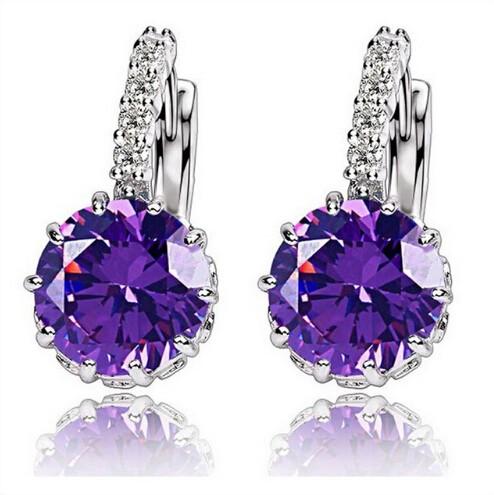 High Quality Plated CZ Diamond Zircon Drop Earrings For Women Fashion Wedding Jewellery Earring purple one size