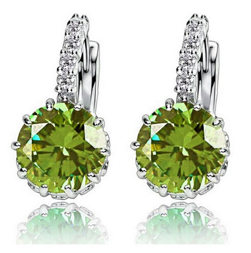 High Quality Plated CZ Diamond Zircon Drop Earrings For Women Fashion Wedding Jewellery Earring Olive green one size