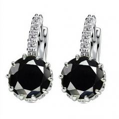 High Quality Plated CZ Diamond Zircon Drop Earrings For Women Fashion Wedding Jewellery Earring black one size