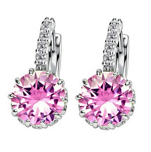 High Quality Plated CZ Diamond Zircon Drop Earrings For Women Fashion Wedding Jewellery Earring pink one size