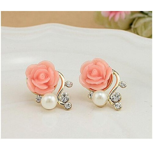 Jewellery Exaggerated Earrings New Style Korean Women Ol Pink Rose Imitation Pearl Crystal Earrings pink one size