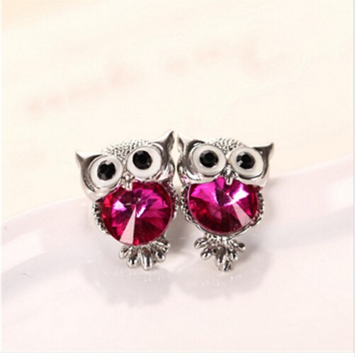 IFeel New Design Crystal Women Charms Owl Stud Earrings Cute Jewellery Plated Trendy For Wedding photo color 1 one size