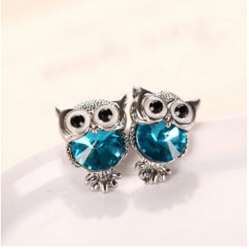 IFeel New Design Crystal Women Charms Owl Stud Earrings Cute Jewellery Plated Trendy For Wedding photo color 12 one size