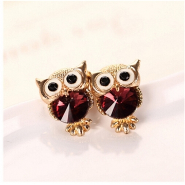 IFeel New Design Crystal Women Charms Owl Stud Earrings Cute Jewellery Plated Trendy For Wedding photo color 9 one size