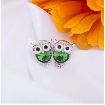 IFeel New Design Crystal Women Charms Owl Stud Earrings Cute Jewellery Plated Trendy For Wedding photo color 10 one size