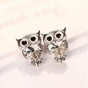 IFeel New Design Crystal Women Charms Owl Stud Earrings Cute Jewellery Plated Trendy For Wedding photo color 8 one size