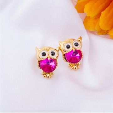 IFeel New Design Crystal Women Charms Owl Stud Earrings Cute Jewellery Plated Trendy For Wedding photo color 7 one size