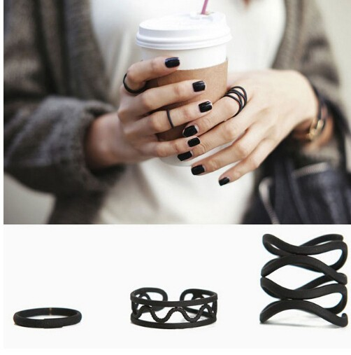 IFeel New fashion 3pcs accessories jewellery black hollow finger ring set for women girl nice gift black one size