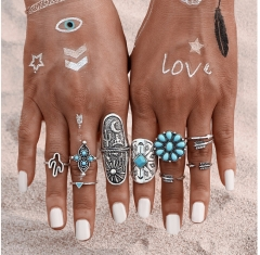 Jewellery 9Pcs/ turquoise Bohemian Ring Set Vintage Steampunk Cross flowers Anillos Rings for Women silver rings*1
