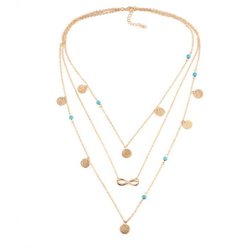 Turquoise Necklaces for Women Multi Layer Leaf Chain Bohemian Choker Jewelry Body Chain Jewellery photo color 5 45+5cm
