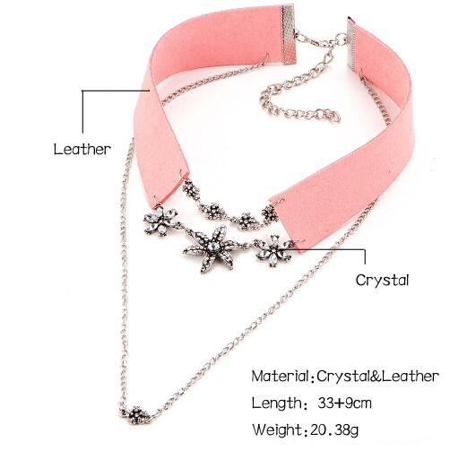Crystal Flower Tattoo Choker Necklace for Women Velvet Vintage Leather Necklaces Collar Jewellery pink one size