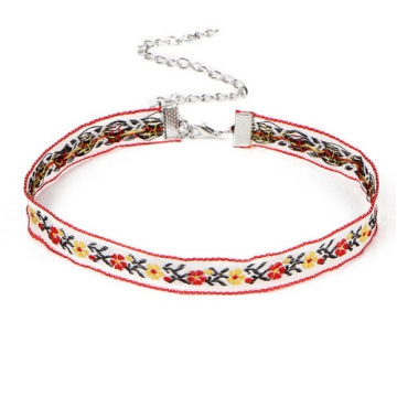 Multicolor Bohemia Boho Printed Flower Choker Necklace for Women Gothic Tattoo Jewellery collar Gift photo color 3 one size