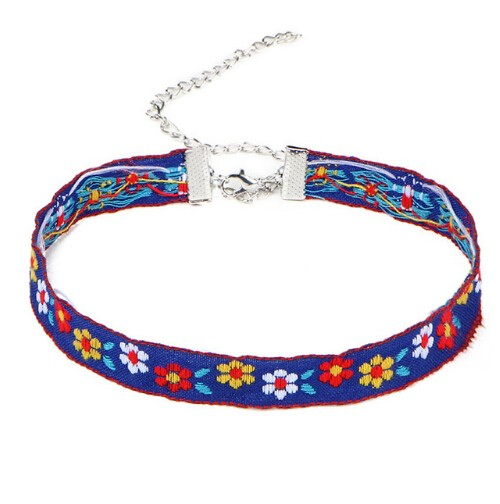 Multicolor Bohemia Boho Printed Flower Choker Necklace for Women Gothic Tattoo Jewellery collar Gift photo color 2 one size