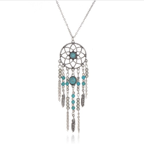Jewellery Indian Style Dream Catcher Tube Collar Turquoise Tassel Beads Bijoux Necklace for Women silver 77cm