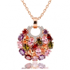 Trendy Alloy Link Chain Colorful Round Crystal Pendant Flower Jewellery Zircon Necklaces For Women gold Length:43+6cm