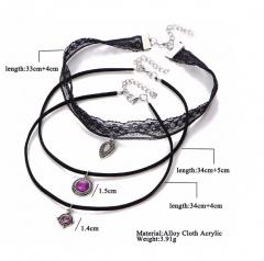 IFeel Jewellery 3 Pcs/Set Lace Chokers Necklaces for Women Vintage Water Drop Pendants Necklace black one size