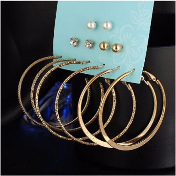 IFeel New 6 Pairs/Set Fashion Punk Crystal Stud Earrings For Women Vintage Jewellery gold one size