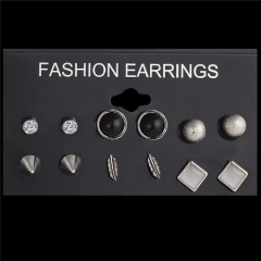 Jewellery 6Pcs/Set New Ball Crystal Stud Earrings For Women Leaf Earring Set Boho Punk Accessories silver one size