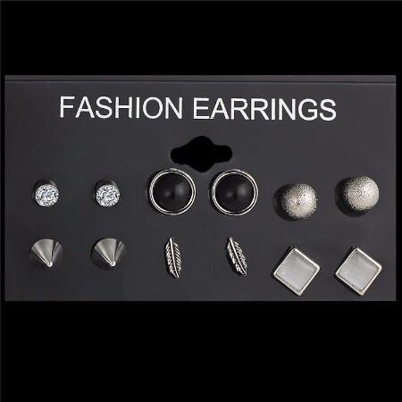 Jewellery 6Pcs/Set New Ball Crystal Stud Earrings For Women Leaf Earring Set Boho Punk Accessories silver one size