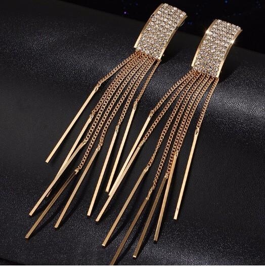IFeel Long Crystal Tassel Dangle Earrings for Women Bar Wedding Drop Earing Fashion Jewellery Gifts gold one size