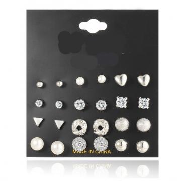 IFeel Fashion 12 pair/set Trendy Style Women Square Crystal Heart Stud Earrings for Women Jewellery silver one size