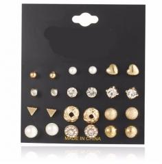 IFeel Fashion 12 pair/set Trendy Style Women Square Crystal Heart Stud Earrings for Women Jewellery gold one size