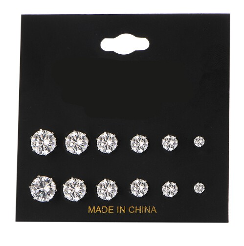 Fashion 6 Pair/ set Punk Accessories Crystal Stud Earrings Set For Women Round Flower Jewellery silver one size